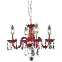 Elegant Lighting Rococo 4 Light Pendant in Red with Royal Cut Bordeaux Crystal 7804D15RD/RC