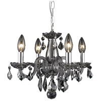 Elegant Lighting Rococo 4 Light Pendant in Silver Shadow with Royal Cut Silver Shade Crystal 7804D15SS-SS/RC