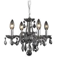 Elegant Lighting V7804D15SS-SS/RC Rococo 4 Light 15 inch Silver Shade Dining Chandelier Ceiling Light