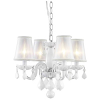 Rococo 4 Light 15 inch White Dining Chandelier Ceiling Light in Silver Shade