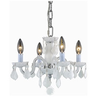Elegant Lighting Rococo 4 Light Pendant in White with Royal Cut White Crystal 7804D15WH-WH/RC