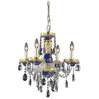 Elegant Lighting Alexandria 4 Light Dining Chandelier in Blue with Elegant Cut Clear Crystal 7810D19BE/EC