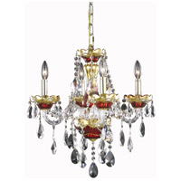 Elegant Lighting Alexandria 4 Light Dining Chandelier in Gold and Red with Royal Cut Clear Crystal 7810D19G/RC