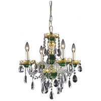 Elegant Lighting Alexandria 4 Light Dining Chandelier in Green with Elegant Cut Clear Crystal 7810D19GN/EC