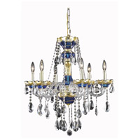 Elegant Lighting Alexandria 6 Light Dining Chandelier in Blue with Elegant Cut Clear Crystal 7810D24BE/EC