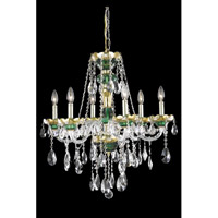 Elegant Lighting Alexandria 6 Light Dining Chandelier in Green with Elegant Cut Clear Crystal 7810D24GN/EC