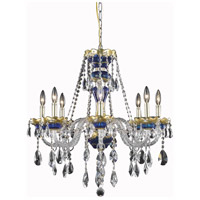 Elegant Lighting Alexandria 8 Light Dining Chandelier in Blue with Swarovski Strass Clear Crystal 7810D26BE/SS