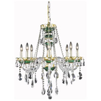Elegant Lighting Alexandria 8 Light Dining Chandelier in Green with Elegant Cut Clear Crystal 7810D26GN/EC