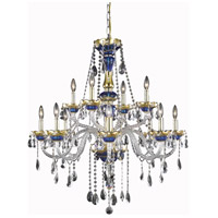 Elegant Lighting Alexandria 12 Light Foyer in Blue with Elegant Cut Clear Crystal 7810G33BE/EC