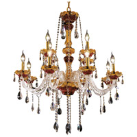Elegant Lighting Alexandria 12 Light Foyer in Gold with Swarovski Strass Clear Crystal 7810G33G/SS