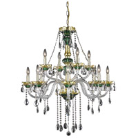 Elegant Lighting Alexandria 12 Light Foyer in Green with Elegant Cut Clear Crystal 7810G33GN/EC