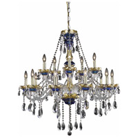 Elegant Lighting Alexandria 15 Light Foyer in Blue with Elegant Cut Clear Crystal 7810G35BE/EC
