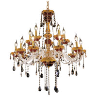 Elegant Lighting Alexandria 15 Light Foyer in Gold with Swarovski Strass Clear Crystal 7810G35G/SS