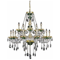 Elegant Lighting Alexandria 15 Light Foyer in Green with Elegant Cut Clear Crystal 7810G35GN/EC