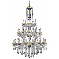 Elegant Lighting Alexandria 30 Light Foyer in Blue with Spectra Swarovski Clear Crystal 7810G45BE/SA