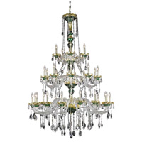 Elegant Lighting Alexandria 30 Light Foyer in Green with Swarovski Strass Clear Crystal 7810G45GN/SS