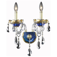 Elegant Lighting Alexandria 2 Light Wall Sconce in Blue with Swarovski Strass Clear Crystal 7810W2BE/SS