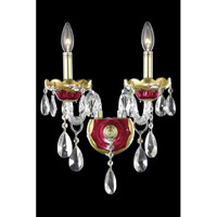 Elegant Lighting Alexandria 2 Light Wall Sconce in Gold and Red with Royal Cut Clear Crystal 7810W2G/RC