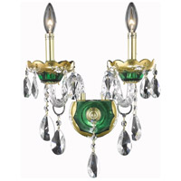 Elegant Lighting Alexandria 2 Light Wall Sconce in Green with Elegant Cut Clear Crystal 7810W2GN/EC