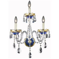 Elegant Lighting Alexandria 3 Light Wall Sconce in Blue with Elegant Cut Clear Crystal 7810W3BE/EC