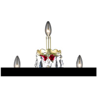 Elegant Lighting Alexandria 3 Light Wall Sconce in Gold and Red with Swarovski Strass Clear Crystal 7810W3G/SS