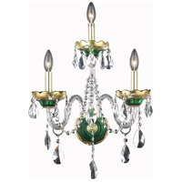Elegant Lighting Alexandria 3 Light Wall Sconce in Green with Elegant Cut Clear Crystal 7810W3GN/EC