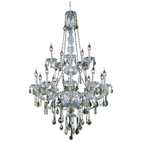 Elegant Lighting Verona 15 Light Foyer in Chrome with Swarovski Strass Golden Teak Crystal 7815G33C-GT/SS