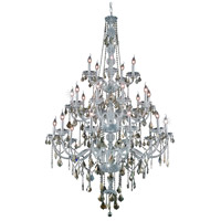 Elegant Lighting Verona 25 Light Foyer in Chrome with Swarovski Strass Golden Teak Crystal 7825G43C-GT/SS