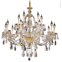 Elegant Lighting Alexandria 15 Light Foyer in Gold with Swarovski Strass Clear Crystal 7829G35G/SS