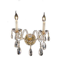 Elegant Lighting Alexandria 2 Light Wall Sconce in Gold with Swarovski Strass Clear Crystal 7829W2G/SS