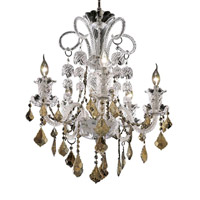 Elegant Lighting Elizabeth 5 Light Dining Chandelier in Chrome with Royal Cut Golden Teak Crystal 7830D25C-GT/RC
