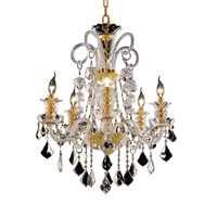 Elegant Lighting Elizabeth 5 Light Dining Chandelier in Gold with Swarovski Strass Clear Crystal 7830D25G/SS