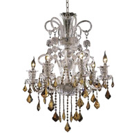 Elizabeth 6 Light 26 inch Chrome Chandelier Ceiling Light in Golden Teak, Elegant Cut