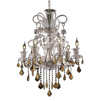 Elegant Lighting Elizabeth 6 Light Dining Chandelier in Chrome with Royal Cut Golden Teak Crystal 7830D26C-GT/RC