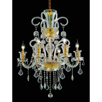 Elegant Lighting Elizabeth 6 Light Dining Chandelier in Gold with Swarovski Strass Clear Crystal 7830D26G/SS