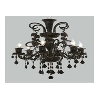 Elegant Lighting Elizabeth 6 Light Chandelier in Black with Royal Cut Jet (Black) Crystals 7830D26B