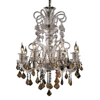 Elegant Lighting Elizabeth 8 Light Chandelier in Chrome with Strass Swarovski Golden Teak (Smoky) Crystals 7830D29C-GT/EC