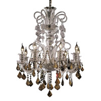 Elegant Lighting Elizabeth 8 Light Dining Chandelier in Chrome with Swarovski Strass Golden Teak Crystal 7830D29C-GT/SS