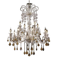 Elegant Lighting Elizabeth 12 Light Chandelier in Chrome with Strass Swarovski Golden Teak (Smoky) Crystals 7830G33C-GT/EC