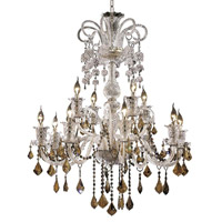 Elegant Lighting Elizabeth 12 Light Dining Chandelier in Chrome with Swarovski Strass Golden Teak Crystal 7830G33C-GT/SS