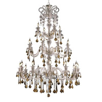 Elegant Lighting Elizabeth 24 Light Chandelier in Chrome with Strass Swarovski Golden Teak (Smoky) Crystals 7830G44C-GT/EC
