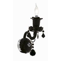 Elegant Lighting Elizabeth 1 Light Wall Sconce in Black with Royal Cut Jet (Black) Crystals 7830W1B/RC