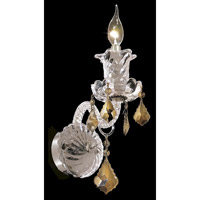 Elegant Lighting Elizabeth 1 Light Wall Sconce in Chrome with Swarovski Strass Golden Teak Crystal 7830W1C-GT/SS