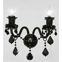 Elegant Lighting Elizabeth 2 Light Wall Sconce in Black with Royal Cut Jet (Black) Crystals 7830W2B/RC