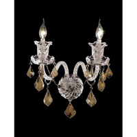 Elegant Lighting Elizabeth 2 Light Wall Sconce in Chrome with Royal Cut Golden Teak Crystal 7830W2C-GT/RC