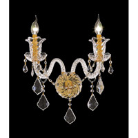 Elegant Lighting Elizabeth 2 Light Wall Sconce in Gold with Elegant Cut Clear Crystal 7830W2G/EC
