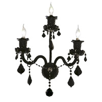 Elegant Lighting Elizabeth 3 Light Wall Sconce in Black with Royal Cut Jet (Black) Crystals 7830W3B/RC