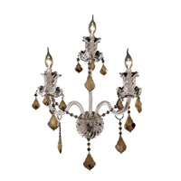 Elegant Lighting Elizabeth 3 Light Wall Sconce in Chrome with Strass Swarovski Golden Teak (Smoky) Crystals 7830W3C-GT/EC