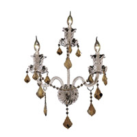 Elegant Lighting Elizabeth 3 Light Wall Sconce in Chrome with Royal Cut Golden Teak Crystal 7830W3C-GT/RC
