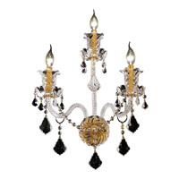 Elegant Lighting Elizabeth 3 Light Wall Sconce in Gold with Swarovski Strass Clear Crystal 7830W3G/SS